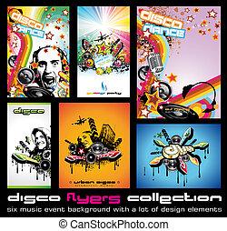 jogo, coloridos, 6, discoteque, elementos, música, fundo, voadores, desenho, qualidade, evento