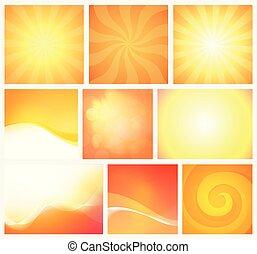 jogo, coloridos, abstratos, papel parede, fundos, amarela, elemento, luminoso, vetorial, desenho, colors., laranja, morno