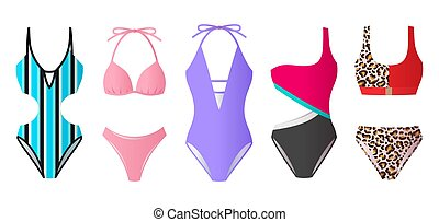 jogo, coloridos, biquíni, monokini, swimsuits, praia...