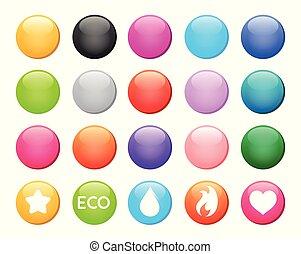 jogo, coloridos, botão, icons., vetorial, desenho, exemplos, redondo, elementos