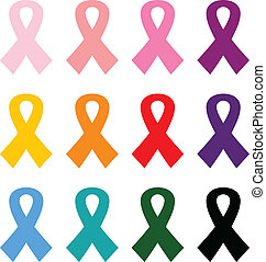 jogo, coloridos, câncer, isolado, peito, branca, fitas, ícone