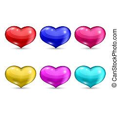 jogo, coloridos, corações, isolado, branco, fundo