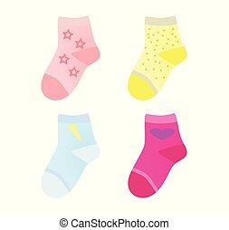 jogo, coloridos, crianças, meias