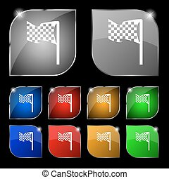 jogo, coloridos, dez, sinal., glare., botões, bandeira, vetorial, correndo, ícone