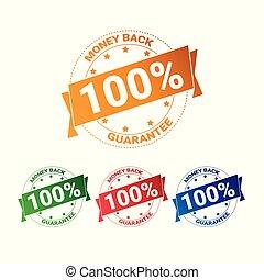 jogo, coloridos, dinheiro, cento, costas, cobrança, isolado, selos, selo, 100, emblema, garantia