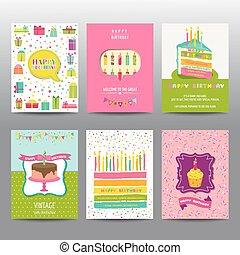 jogo, coloridos, folhetos, -, aniversário, leiautes, vetorial, cartões