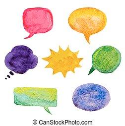 jogo, coloridos, ilustração, aquarela, bubbles., vetorial, fala