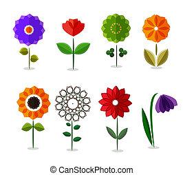 jogo, coloridos, isolado, vetorial, flores brancas, ícone