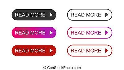 jogo, coloridos, ler, botão, modernos, fundo, branca, mais, ícone