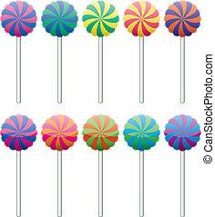 jogo, coloridos, lollipops, vetorial