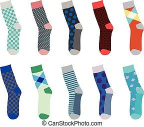 jogo, coloridos, meias