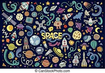 jogo, coloridos, objetos, espaço, mão, vetorial, desenhado,...