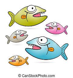 jogo, coloridos, peixe, isolado, vetorial, fundo, dentes, branca