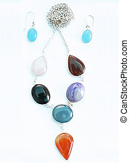 jogo, coloridos, pendente, anel, orelha,  gemstone