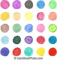 jogo, coloridos, pintado, mão, aquarela, vetorial, circle.
