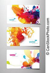 jogo, coloridos, presente, abstratos, respingo, cartões.