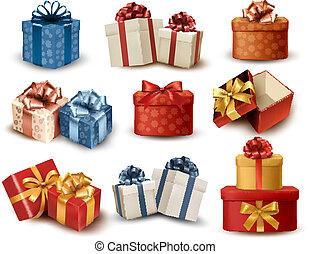 jogo, coloridos, presente, arcos, caixas, vetorial, retro, ribbons., illustration.