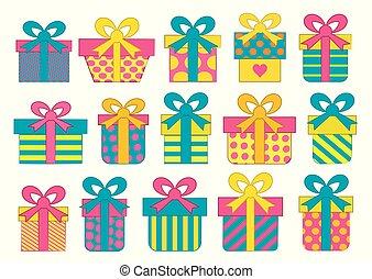 jogo, coloridos, presente, arcos, caixas, vetorial, ribbons.