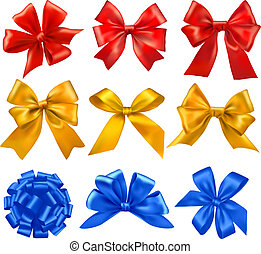 jogo, coloridos, presente, grande, arcos, vector., ribbons.