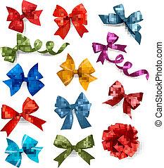 jogo, coloridos, presente, grande, arcos, vetorial, ribbons., illustration.