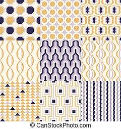 jogo, coloridos, século, seamless, meio, padrões, interior, ...