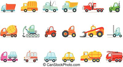 jogo, coloridos, trabalhando, ícones, carros, serviço, público, construção, brinquedo, caricatura, estrada