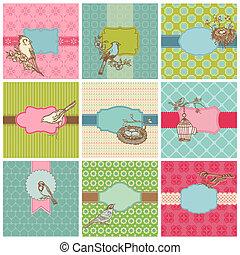 jogo, coloridos, vindima, -, vetorial, aniversário, convite, cartões, casório, pássaros