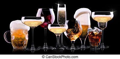 jogo, com, diferente, bebidas