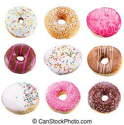 jogo, com, diferente, donuts