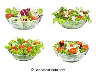 jogo, com, diferente, saladas