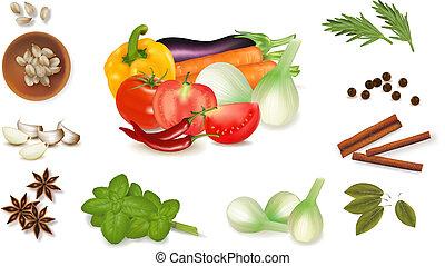 jogo, com, temperos, e, legumes