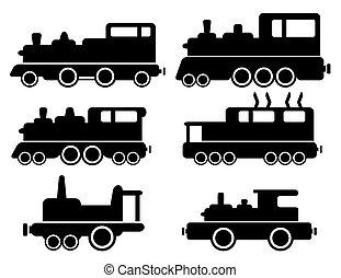 jogo, com, trem carga, silueta