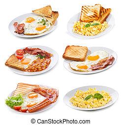 jogo, com, vário, pratos, de, fritado, e, ovos mexidos