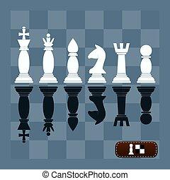 jogo, completo, pedaços, silhuetas, vetorial, xadrez
