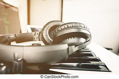 jogo, computador, fone, producao, pretas, música