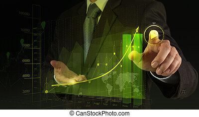 jogo, conceito, botão iniciar, sinal, inicie, imprensa, homem negócios, mão, ou, projetos
