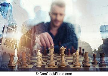 jogo, conceito, negócio, dobro, estratégia, homem negócios, xadrez, game., tactic., exposição