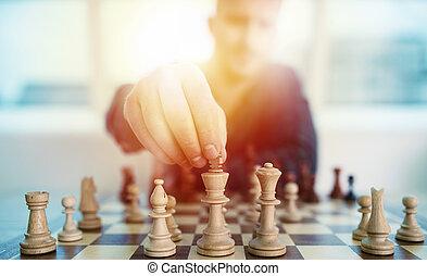 jogo, conceito, negócio, game., estratégia, xadrez, tática, homem negócios