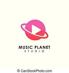 jogo, concept., planeta, desenho, logotipo, símbolo música, ícone