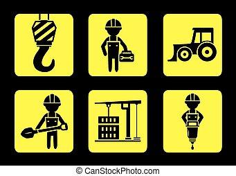 jogo construção, amarela, ícone