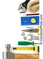 jogo construção, ferramentas, isolado, branca