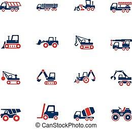 jogo construção, maquinaria, ícone
