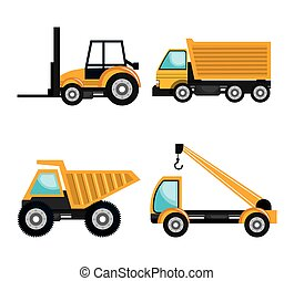 jogo construção, maquinaria, veículos