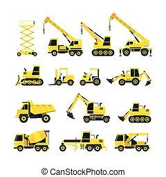 jogo construção, objetos, amarela, veículos