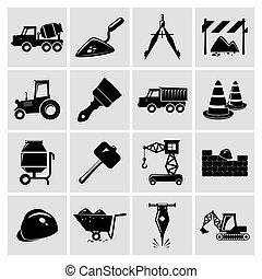 jogo, construção, pretas, ícones