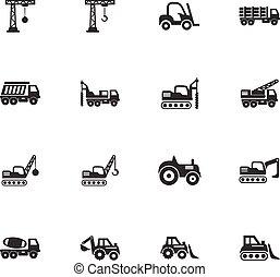 jogo construção, transporte, ícones