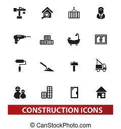 jogo, construção, vetorial, ícones