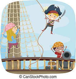 jogo, convés, navio, pirata