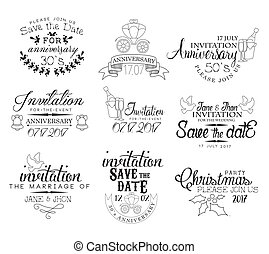 jogo, convite, mão, desenhado, ocasião, especiais