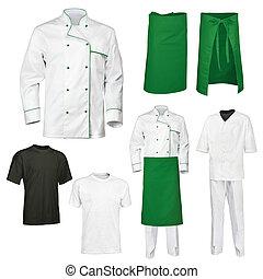jogo, cook's, cozinheiro, verde branco, roupas